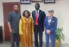 (L TO R) Bala M. Bello, Executive Director, Nexim Bank, Pat McCants, ADCC, Abba Bello, MD/CEO Nexim Bank & Honorary Consul Deok-Sil Kim,S. Korea - Abuja, Nigeria 2018.